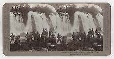 W.W.1 ORIGINAL STEREOVIEW - BRITISH TROOPS REFRESH THEMSELVES AT A WATERFALL.