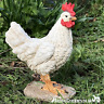 WHITE HEN COCKEREL ornament figure kitchen garden decoration Chicken lover gift