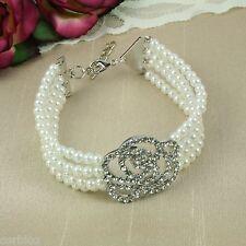 B1 Wedding Bridal Prom fiesta Tono Plata perla y diamante de imitación Rose Pulsera