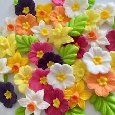 DAFFODILS PRIMROSES edible sugar paste flowers cake decorations cupcake toppers