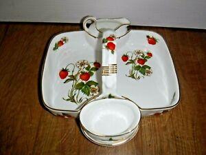 Oakley Fine Bone China Strawberry Basket, Cream and Sugar Set ~ Excellent