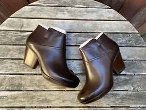 DANSKO Miley Burnished Calf Boots Brown Leather Ankle Zip Booties Size 42 EU