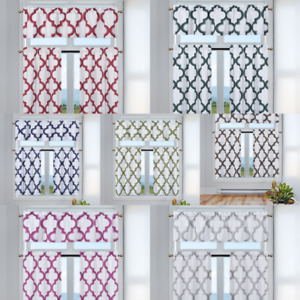 3PC SET KITCHEN SMALL PANELS VALANCE LINED WINDOW CURTAIN GEOMETRIC PRINTED NEW