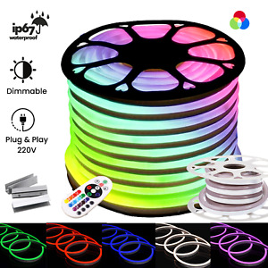 RGB Neon Flex 220V RGB Neon Rope Light IP67 Waterproof RGB LED Strip Outdoor Use