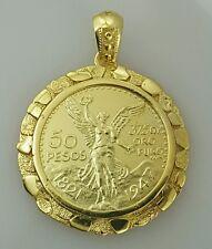 Naget 50 pesos Mexican coin pendant / necklace centenario Gold Plated  frame