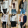 Womens Button Down Shirt Lady Business Career Work Long Sleeve Spring Blouse Top