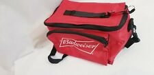 """Budweiser Insulated 6 Pack Soft Sided Red Cooler 9x6"""" with Bud bottle opener on"""