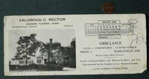 1948 Markleville Indiana Valorous C. Rector Funeral Home Calendar ink blotter!