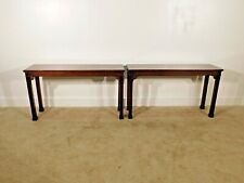 Pair BAKER Furniture Mahogany Chinese Chippendale Consoles Sideboard Tables