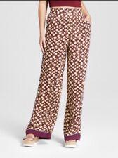 Xhilaration Womens Juniors Wide Leg Satin Fashion Pants Berry Size Large