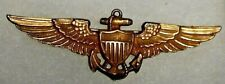 Original Navy Ww2 10K Gold Plated/ Sterling Marine Corps Pilot Wing Pin