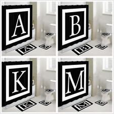Initials Alphabet Letter Bathroom Fabric Shower Curtains with Rug Toilet Mat Set