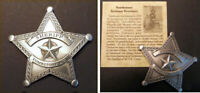 Tombstone Arizona Territory Sheriff Badge, star, silver, old west, western