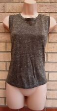 RIVER ISLAND TAUPE GOLD GLITTER SPARKLY SLEEVELESS BAGGY PARTY TOP BLOUSE 14 L
