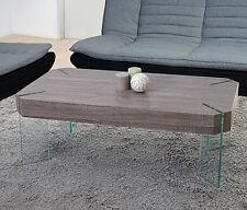 Table basse de salon Kos T578, FSC 40x110x60cm ~ chêne foncé, pieds en verre