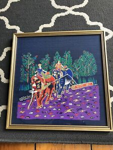 oriental fabric Painted Framed Picture Elephants