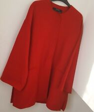 ZARA OVERSIZE RED HANDMADE WOOL COAT WITH ROUND NECK WITH SLEEVE DETAIL SIZE M