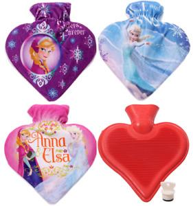 Disney Frozen Heart Shaped Hot Water Bottle - Warm Winter Rubber Bottle & Cover