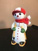 **FLAMBRO VINTAGE PORCELAIN SNOWMAN SKIING RED HAT MCM**