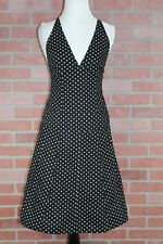 DKNY Womens Sleeveless Fitted Black & White Polka Dot A-Line Dress Size 4