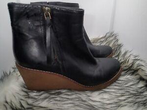 Cole Haan Auden Waterproof Wedge Ankle Boots Black Leather Sz 7