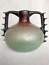 More details for rare art nouveau crackle satin opaque glass vase twin handle roman revival
