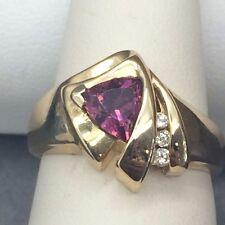 Garnet and Diamond Ring (10k yellow gold)