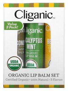 Cliganic Organic Lip Balm Box Set 3 Pack. Eucalyptus Mint, Coconut, Beeswax