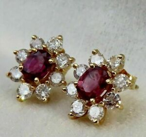 1.01 Ct BEAUTIFUL RUBY & DIAMOND ROUND HALO  STUD EARRINGS14K YELLOW GOLD FINISH