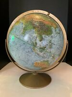 Vintage Replogle Land and Sea 12 inch World Globe with Metal Stand