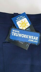 TRU Mid Weight UPF 50+ Adult 87 Mens Work Pants Navy Cotton Wear New Tags
