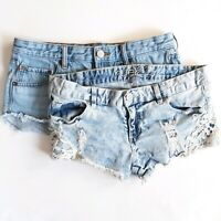 BDG Rue 21 Denim womens Shorts Size 5/6 distressed ripped super short Lot of 2