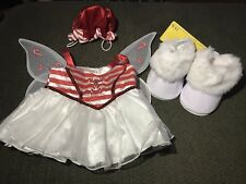 Build-a-Bear Christmas Candy Cane Dress Striped Hat Faux Fur White Go Go Boots