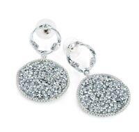 Silver Glittery Crystal Disc Dangly Earrings