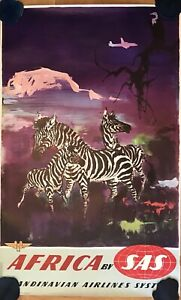 OLD POSTER AFRICA BY SAS - OTTO NIELSEN - ADVERTISING FLIGHTS AIRLINES 1950's