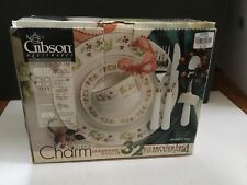 Vtg. 32 Pc GIBSON CHRISTMAS CHARM Plates Cups Saucers Napkin Rings & Napkins NOS