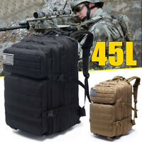 45L Outdoor Military Tactical Backpack Army Camping Travel Hiking Bags Rucksack