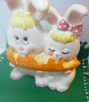 Napcoware 1975 Easter Vintage Ceramic Planter Bunnies Carrot C-9436
