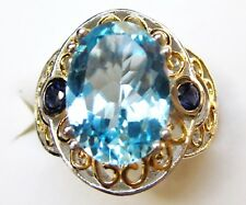 Sky Blue Topaz & Iolite Ring / size 5 / 925 Sterling Silver & 14K Gold, 7.35cts