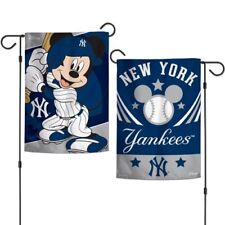"New Disney Mickey Mouse New York Yankees MLB 2 Sided 12.5 X 18"" Garden  Flag"