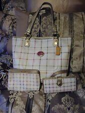 Coach Peyton Tattersal PVC Tote Bag F20093 & Matching Wristlet & Wallet
