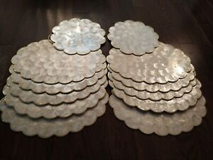 Vintage Mother Of Pearl Capiz Shell Scalloped Cork Back Placemats Set Of 10 + 2