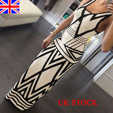 CELEB LADIES GEOMETRIC PARTY PARTY LONG MAXI BODYCON DRESS SIZE 8 10 12 14 16 18