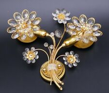 60s 70s PALWA crystal glass wall lamps SCONCES flower Palme & Walter Regency