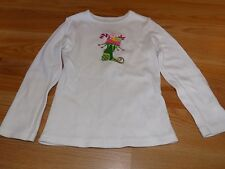 Size 4 Ellemenno White Christmas Holiday L/S Shirt Top Stocking Embroidery EUC