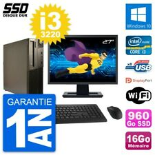 "PC LENOVO M82 SFF Screen 27 "" Intel i3-3220 RAM 16Go SSD 960Go Windows 10 Wifi"