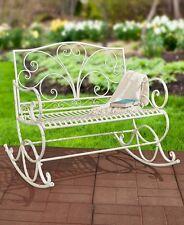 Outdoor Rocker White Metal Rocking Bench Glider Chair Patio Garden Furniture NEW