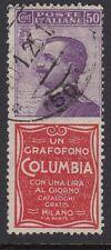 ITALIA: 1924 oppure VIOLET + COLUMBIA LABEL attached-1 - sg171k USATO