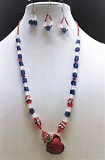 Women's 27 inch Glass Bead Red,Blue& White( Acyrlic Heart Pendant) Necklace Set