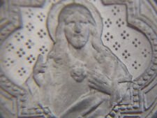 """† PRIEST'S """"BLESSED"""" VINTAGE """"SCARED HEART"""" ROSARY MEDAL PENDANT MILITARY 3/4"""" †"""
